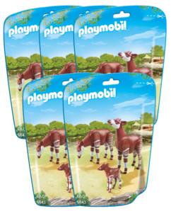 Jouet Playmobil collection Le Zoo - Couple d'Okapis et leur bébé (n° 6643) - x5