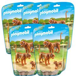 Jouet Playmobil collection Le Zoo - Couple de Tigres et leur bébé (n° 6645) - x5