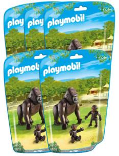 Jouet Playmobil collection Le Zoo - Maman Gorille et ses bébés (n° 6639) - x5