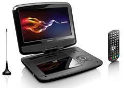 lecteur dvd portable ecran 9 rotativ lecteurs usb cd sd hdmi jpeg mpeg telecommande antenne tnt hd lenco dvp-9413