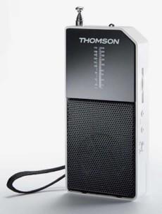 mini radio de poche transistor avec laniere dragonne et antenne depliable thomson