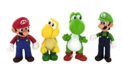 Figurines articulées Mario, Koopa, Yoshi et Luigi.