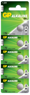 5 piles bouton LR44 GP Alkaline Cell