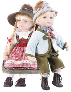 Poupées de collection en porcelaine avec costume bavarois traditionnel - Couple