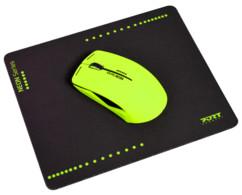 Souris optique sans fil Neon avec tapis - Jaune fluo