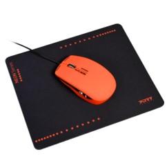 Souris optique USB Neon avec tapis - Rouge