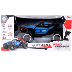 Packaging de la voiture radiocommandée 4x4 Buggy bleu Cross County de MGM Jouets.