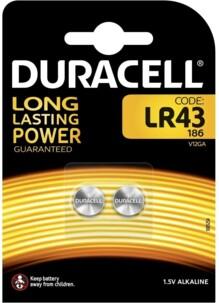 Pack de 2 piles alcalines 1,5 V type LR43 Duracell.
