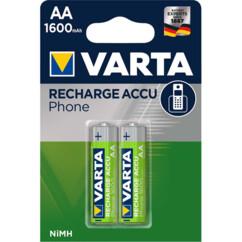 Pack de 2 accus AA Varta rechargeables, avec une capacité de 1600 mAh.