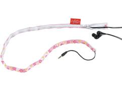 Gaine pour câble d'écouteurs audio - Rose avec motif fleurs