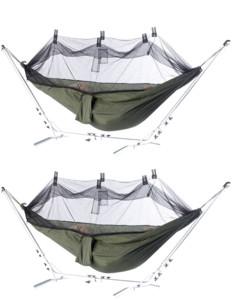 Pack de 2 toiles de hamac en soie de parachute avec moustiquaire
