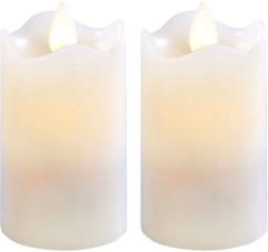 2 bougies à LED scintillante, cire véritable (7,5 cm)
