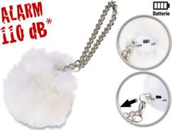 alarme de poche anti agression avec fourrure de décoration blanc