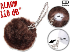 alarme de poche anti agression avec fourrure de décoration brun