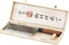 Hachoir chinois, lame forgée main et manche en bois