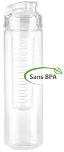 Gourde 0.8 L avec filtre pour herbes et fruits - Transparent