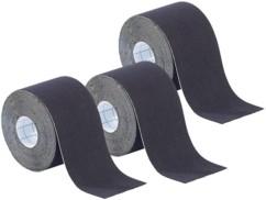 Pack de 3 bandes de kinésiologie pour sport (5 m) - Noir