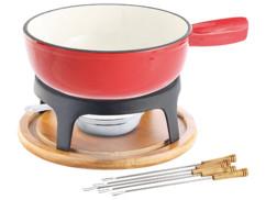 serice complet a fondue savoyarde avec caquelon ceramique 24cm socle bois et fonte bruleur a gel et 6 piques