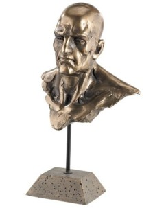 Statuette décorative en résine aspect bronze - Buste d'homme