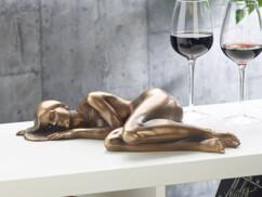Statuette décorative en résine aspect bronze - Femme nue allongée