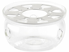Théière en verre avec filtre en acier et réchaud