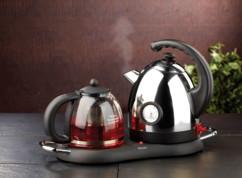 Bouilloire avec théière, affichage température et plaque chauffante