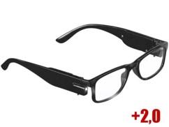 lunettes de lecture mixtes noires avec mini lampes LED et verres dioptrie +2,0 Pearl