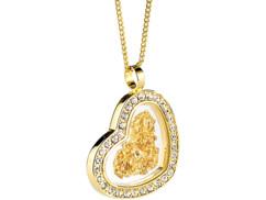 Chaînette & pendentif ''Cœur'' avec feuille d'or 23 carats