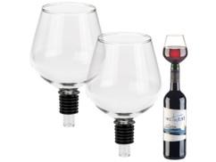 2 embouts pour bouteille en forme de verre à vin