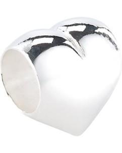Perle en argent 925/1000 en forme de cœur
