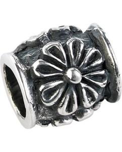 Perle en argent 925/1000 motif fleur