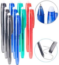 pack de 10 stylos à bille rouge bleu noir vert pour école et bureau avec gomme à encre