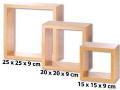 pack de 3 etagères carrées bois pour décoration murale moderne destructurée carlo milano