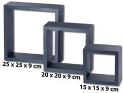 pack de 3 etagères carrées noires pour décoration murale moderne destructurée carlo milano