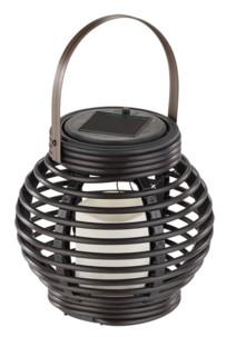 lanterne ronde en rotin avec fausse bougie LED et capteur solaire lunartec