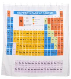 rideau de douche 2 m en tissu lavable motif tableau périodique des éléments
