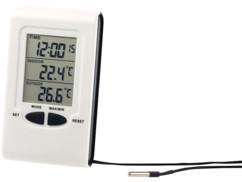 thermometre digital avec sonde filaire pour exterieur et interieur avec horloge et date