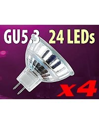 4 Ampoules 24 LED SMD GU5.3 blanc neutre