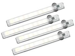 4 Réglettes SMD avec détecteur de mouvement - blanc chaud