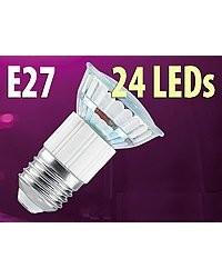 Ampoule 24 LED SMD E27 blanc chaud
