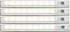 Lot de 4 réglettes LED SMD avec détecteur de mouvement - blanc chaud