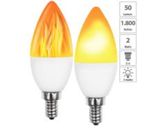 2 ampoules LED E14 effet flamme avec 3 modes d'éclairage