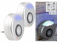 2 anti-nuisibles à ultrasons 2 en 1 avec fonction veilleuse à LED