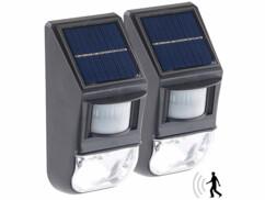 2 appliques murales solaires avec capteur PIR et capteur d'obscurité
