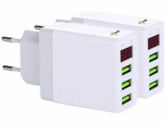 2 chargeurs secteur USB intelligents avec 3ports USB - Blanc