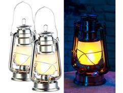 2 lampes tempêtes effet flamme, hauteur 25cm - Coloris argent