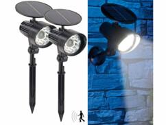 2 spots solaires à LED avec détecteur de mouvement et témoin rouge clignotant