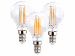 3 ampoules LED filament E14 à intensité variable - 4 W - 470 lm - Blanc chaud