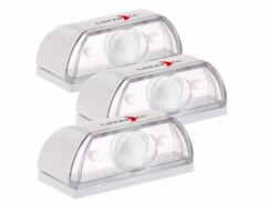 3 balises murales à LED pour escalier avec détecteur de mouvement - 0,12 W
