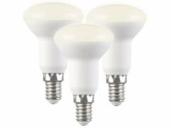 Lot de 3 réflecteurs LED E14 R50 avec une capcité de 5 W et une luminosité de 450 lumens.